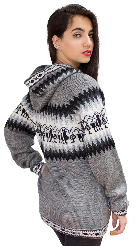 Little-Llamas-Hooded-Alpaca-Wool-Knitted-Jacket-Hoodie-Sweater thumbnail 22