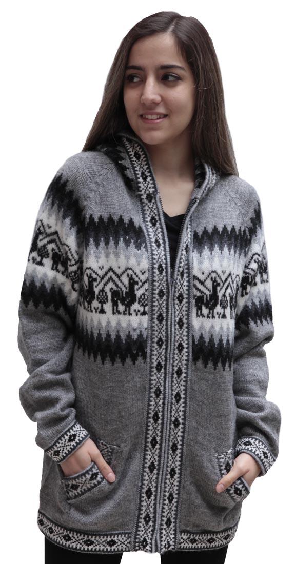 Little-Llamas-Hooded-Alpaca-Wool-Knitted-Jacket-Hoodie-Sweater thumbnail 17