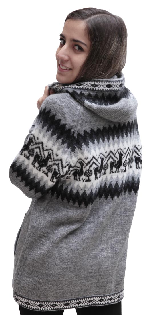 Little-Llamas-Hooded-Alpaca-Wool-Knitted-Jacket-Hoodie-Sweater thumbnail 18