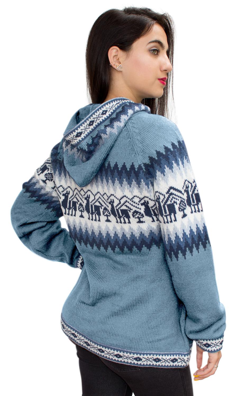 Little-Llamas-Hooded-Alpaca-Wool-Knitted-Jacket-Hoodie-Sweater thumbnail 6