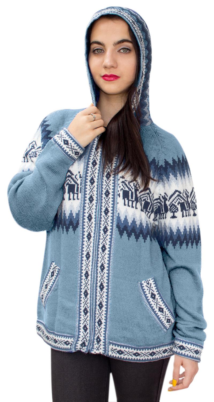 Little-Llamas-Hooded-Alpaca-Wool-Knitted-Jacket-Hoodie-Sweater thumbnail 9