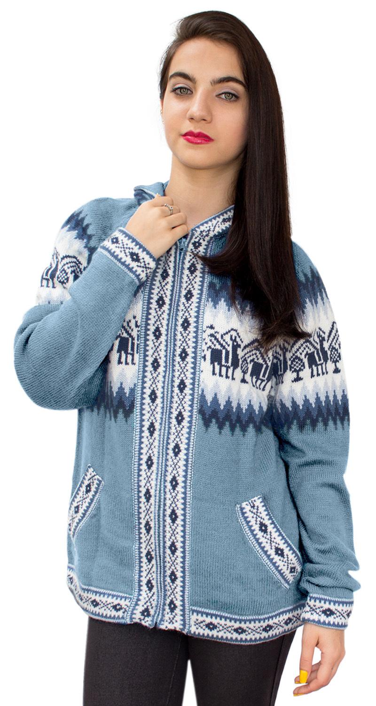 Little-Llamas-Hooded-Alpaca-Wool-Knitted-Jacket-Hoodie-Sweater thumbnail 8