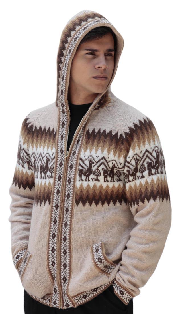 Homme-laine-d-039-Alpaga-Tricot-Veste-a-Capuche-Capuche-Pull-Little-Lamas-Design miniature 71
