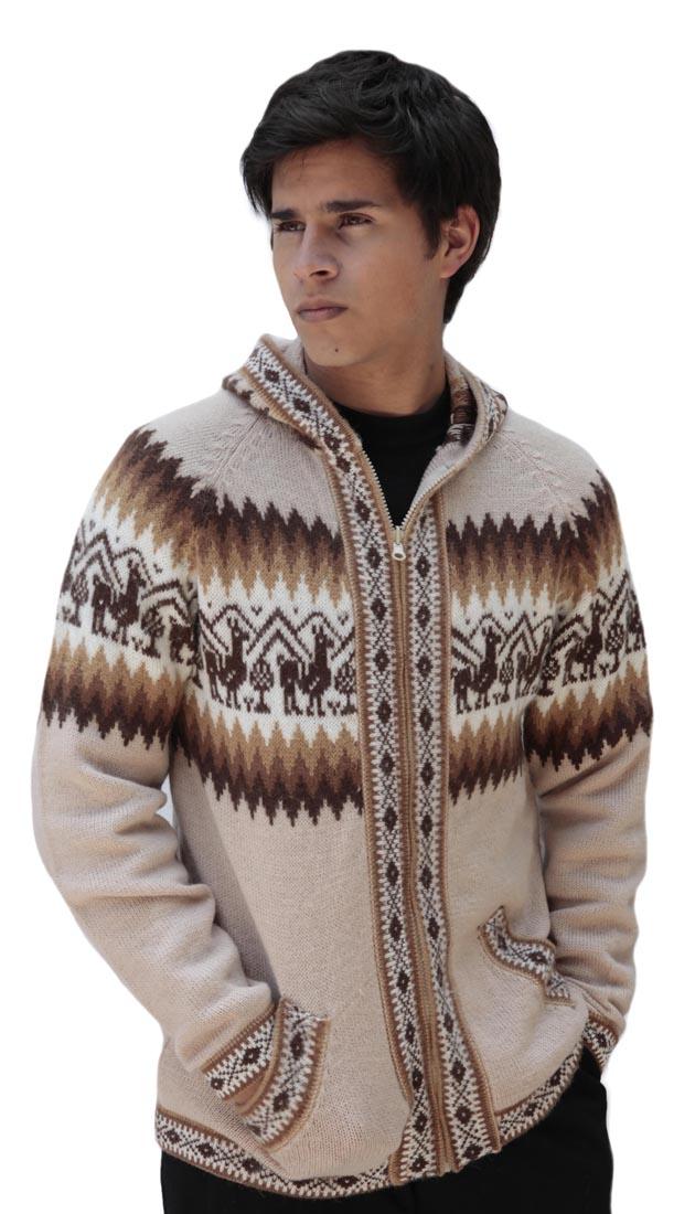 Homme-laine-d-039-Alpaga-Tricot-Veste-a-Capuche-Capuche-Pull-Little-Lamas-Design miniature 70