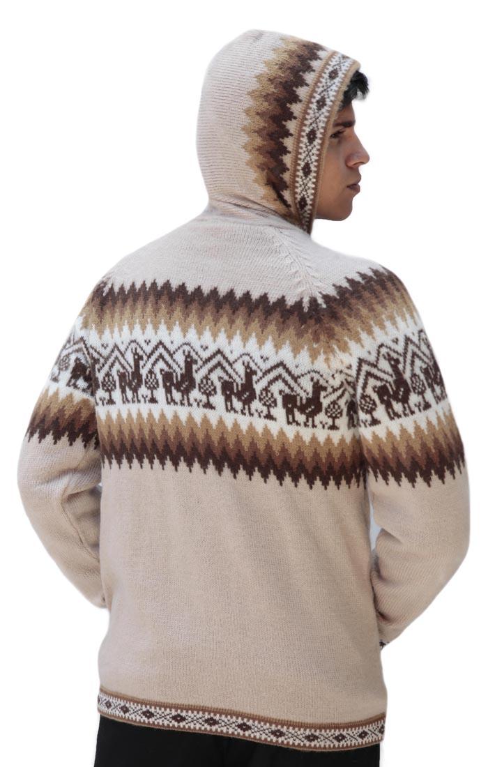 Homme-laine-d-039-Alpaga-Tricot-Veste-a-Capuche-Capuche-Pull-Little-Lamas-Design miniature 72
