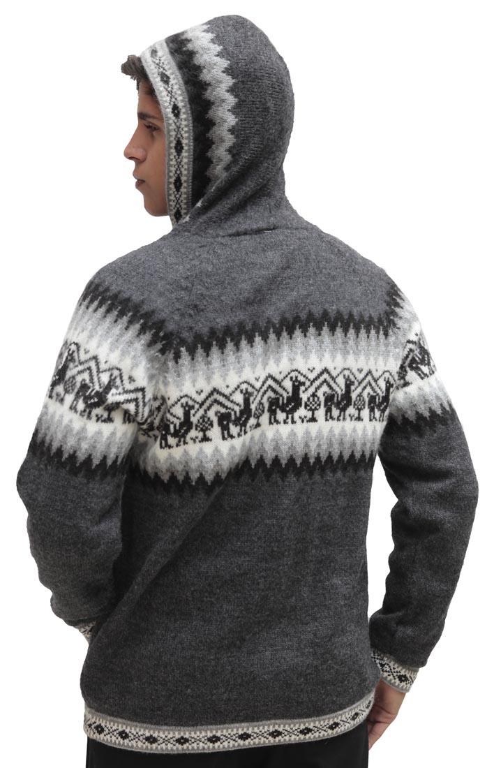 Homme-laine-d-039-Alpaga-Tricot-Veste-a-Capuche-Capuche-Pull-Little-Lamas-Design miniature 60