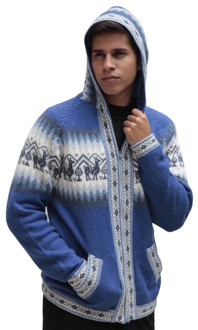 Homme-laine-d-039-Alpaga-Tricot-Veste-a-Capuche-Capuche-Pull-Little-Lamas-Design miniature 54