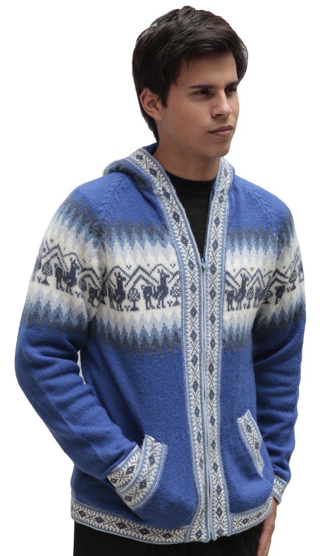 Homme-laine-d-039-Alpaga-Tricot-Veste-a-Capuche-Capuche-Pull-Little-Lamas-Design miniature 53