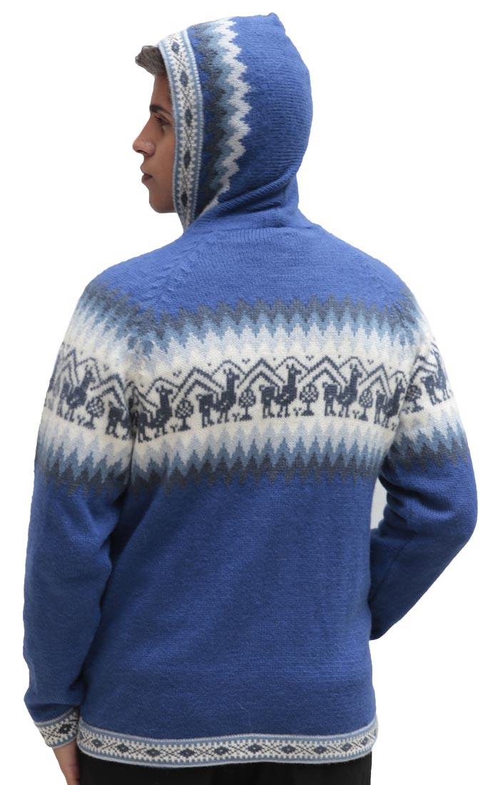 Homme-laine-d-039-Alpaga-Tricot-Veste-a-Capuche-Capuche-Pull-Little-Lamas-Design miniature 55