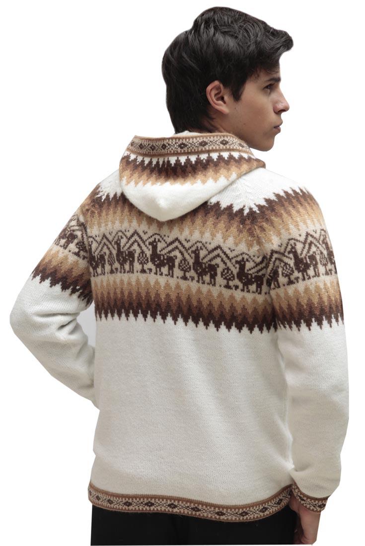 Homme-laine-d-039-Alpaga-Tricot-Veste-a-Capuche-Capuche-Pull-Little-Lamas-Design miniature 49