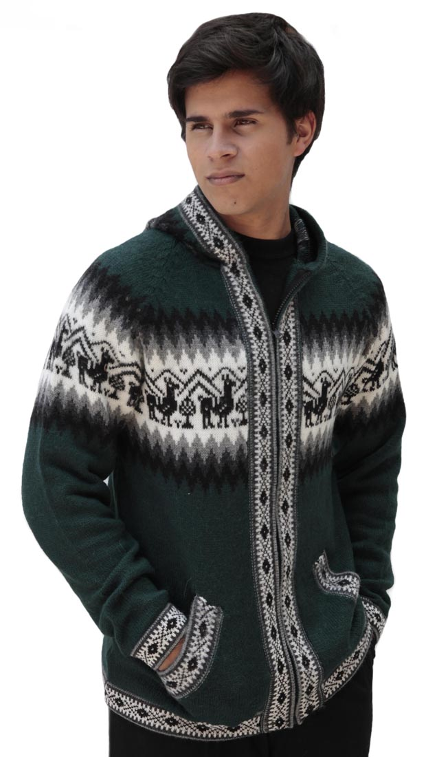Homme-laine-d-039-Alpaga-Tricot-Veste-a-Capuche-Capuche-Pull-Little-Lamas-Design miniature 38