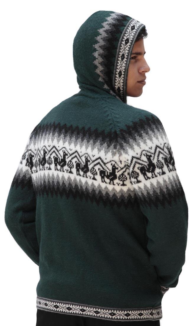 Homme-laine-d-039-Alpaga-Tricot-Veste-a-Capuche-Capuche-Pull-Little-Lamas-Design miniature 40