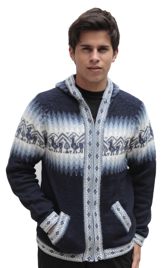Homme-laine-d-039-Alpaga-Tricot-Veste-a-Capuche-Capuche-Pull-Little-Lamas-Design miniature 29