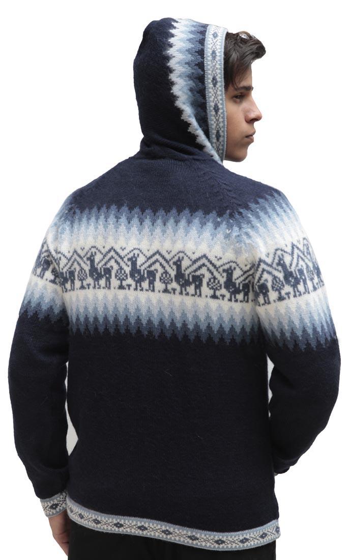 Homme-laine-d-039-Alpaga-Tricot-Veste-a-Capuche-Capuche-Pull-Little-Lamas-Design miniature 31