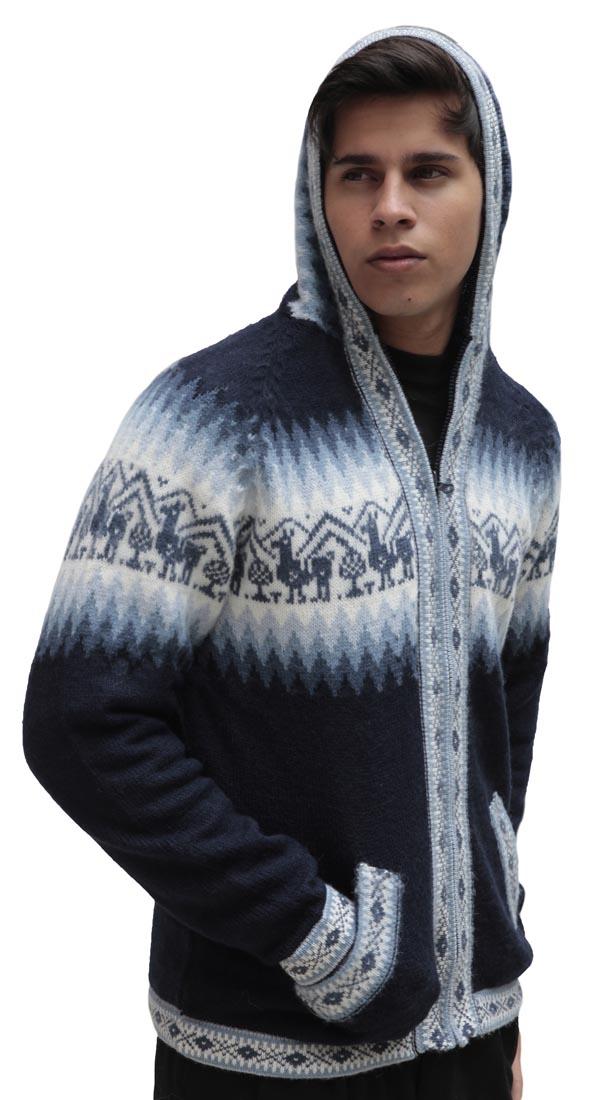 Homme-laine-d-039-Alpaga-Tricot-Veste-a-Capuche-Capuche-Pull-Little-Lamas-Design miniature 30