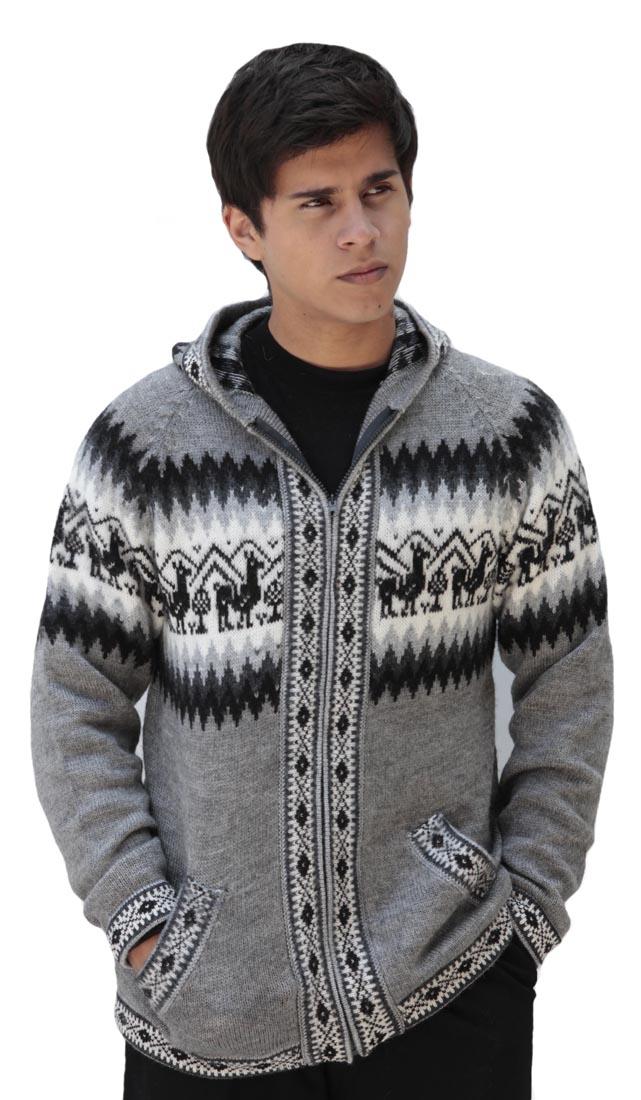 Homme-laine-d-039-Alpaga-Tricot-Veste-a-Capuche-Capuche-Pull-Little-Lamas-Design miniature 24