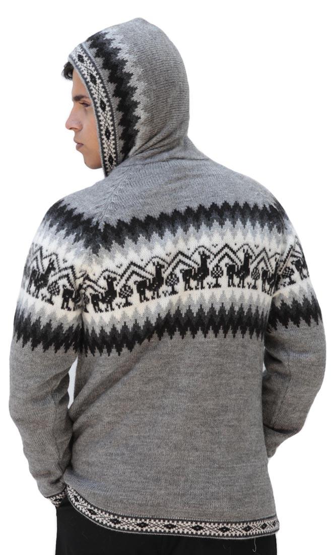 Homme-laine-d-039-Alpaga-Tricot-Veste-a-Capuche-Capuche-Pull-Little-Lamas-Design miniature 26