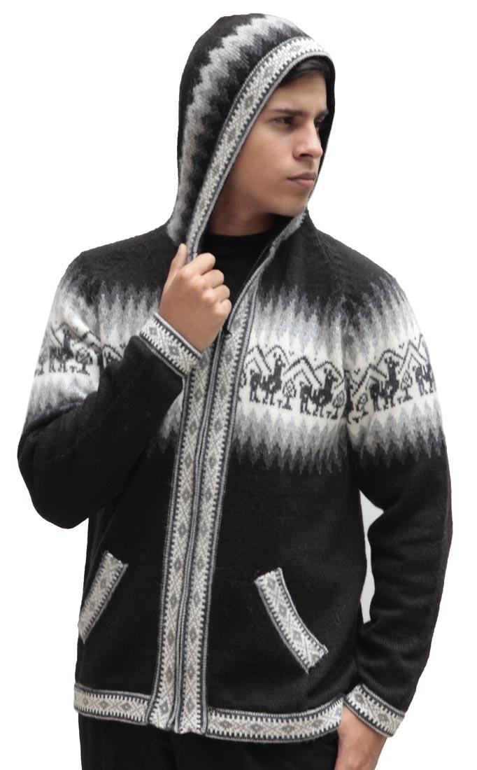 Homme-laine-d-039-Alpaga-Tricot-Veste-a-Capuche-Capuche-Pull-Little-Lamas-Design miniature 13