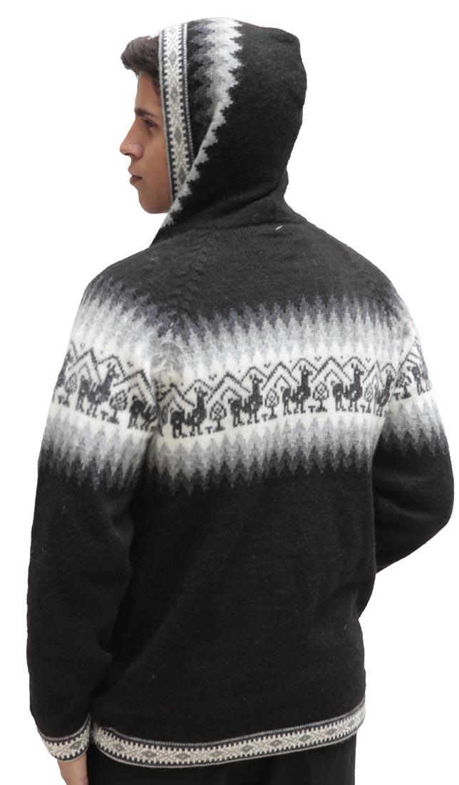 Homme-laine-d-039-Alpaga-Tricot-Veste-a-Capuche-Capuche-Pull-Little-Lamas-Design miniature 14