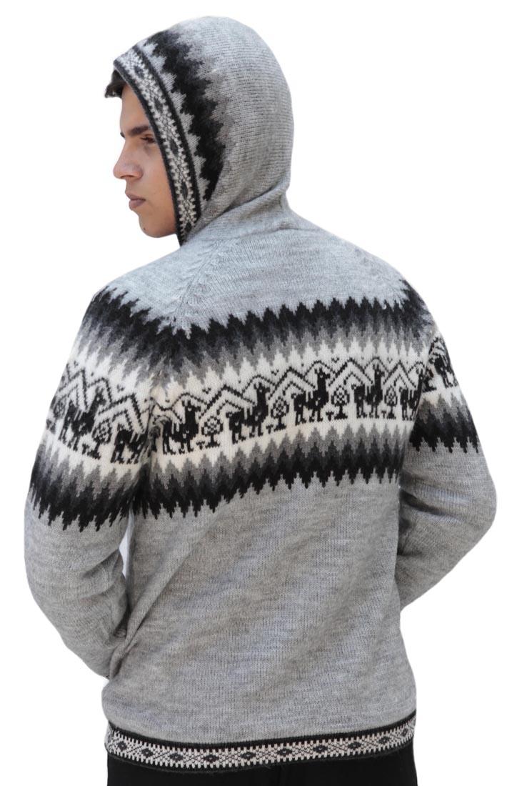 Homme-laine-d-039-Alpaga-Tricot-Veste-a-Capuche-Capuche-Pull-Little-Lamas-Design miniature 5