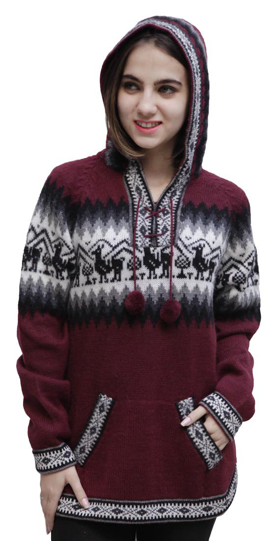 Details about Hooded Alpaca Wool Knitted Hoodie Sweater Llamas Ethnic Design