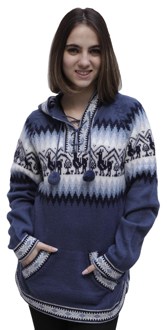 8911eedc6 Hooded Alpaca Wool Knitted Hoodie Sweater Llamas Ethnic Design