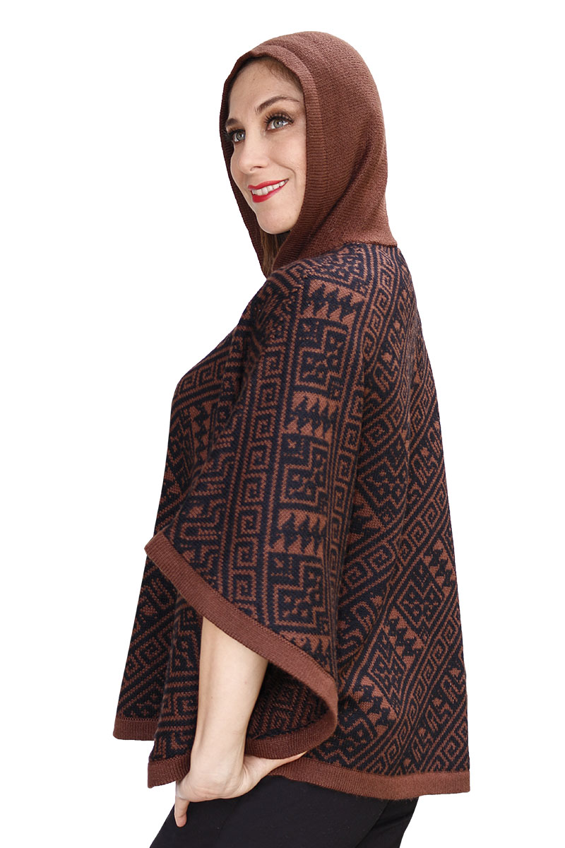 Women-039-s-Alpaca-Wool-Hooded-Knit-Yarn-Cape-Coat-Poncho-Wooden-Buttons