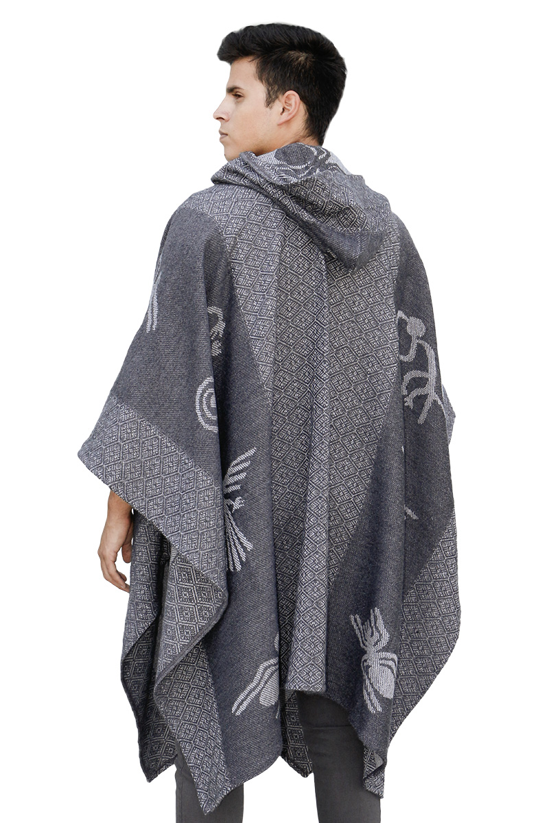 Details about Mens Alpaca Wool Hooded Knit Yarn Cape Coat Poncho - Nazca  Lines Design