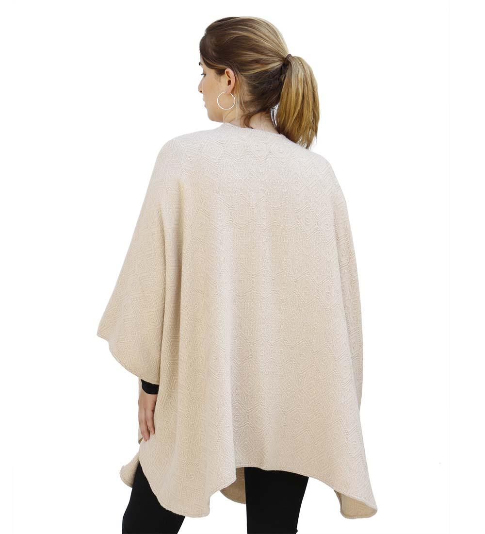 Alpaca Poncho Wool Alpaca Blend Poncho for Women Cloak Cape Coat Ruana Textured