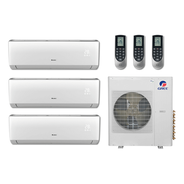 Details about 36,000 Btu 21 Seer Gree Multi Zone Mini Split Heat Pump  System - 12K-12K-12K