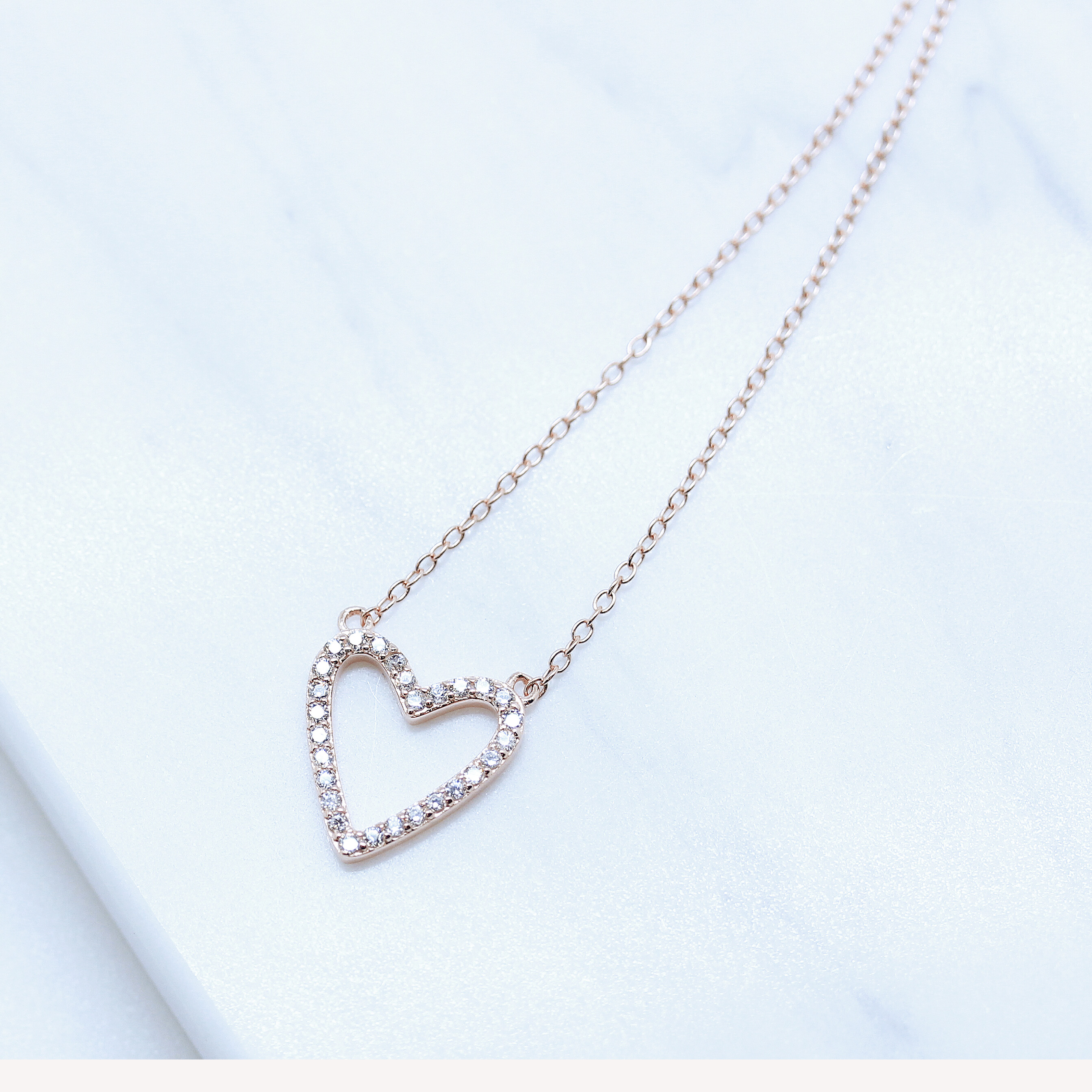 miniature 4 - 14K Gold Plated 925 Sterling Silver Cubic Zirconia Hollow Open Heart Necklace
