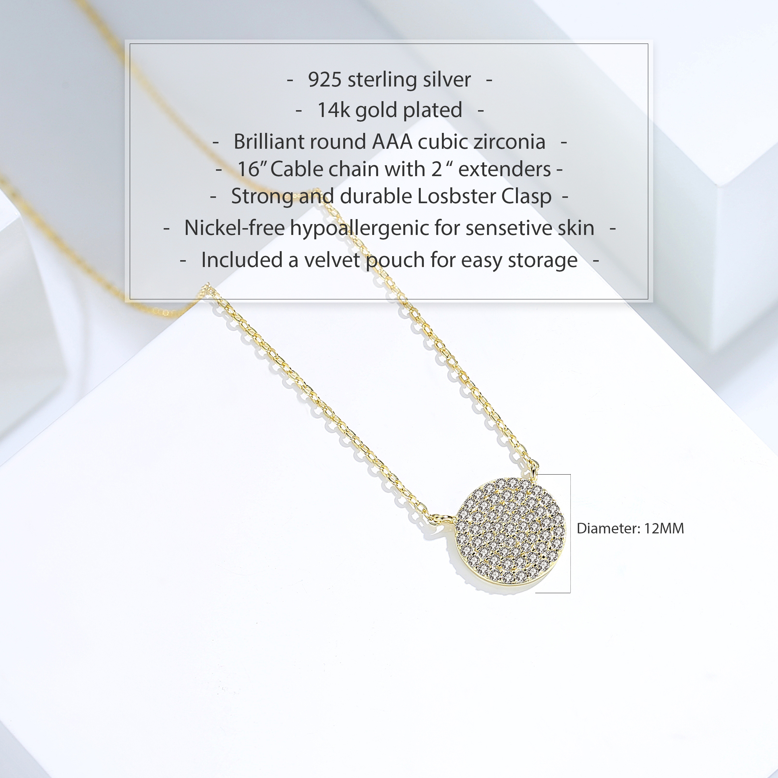 miniature 12 - 14K Gold Plated Silver Cubic Zirconia Disc Necklace Circle Pendant 12mm Diameter