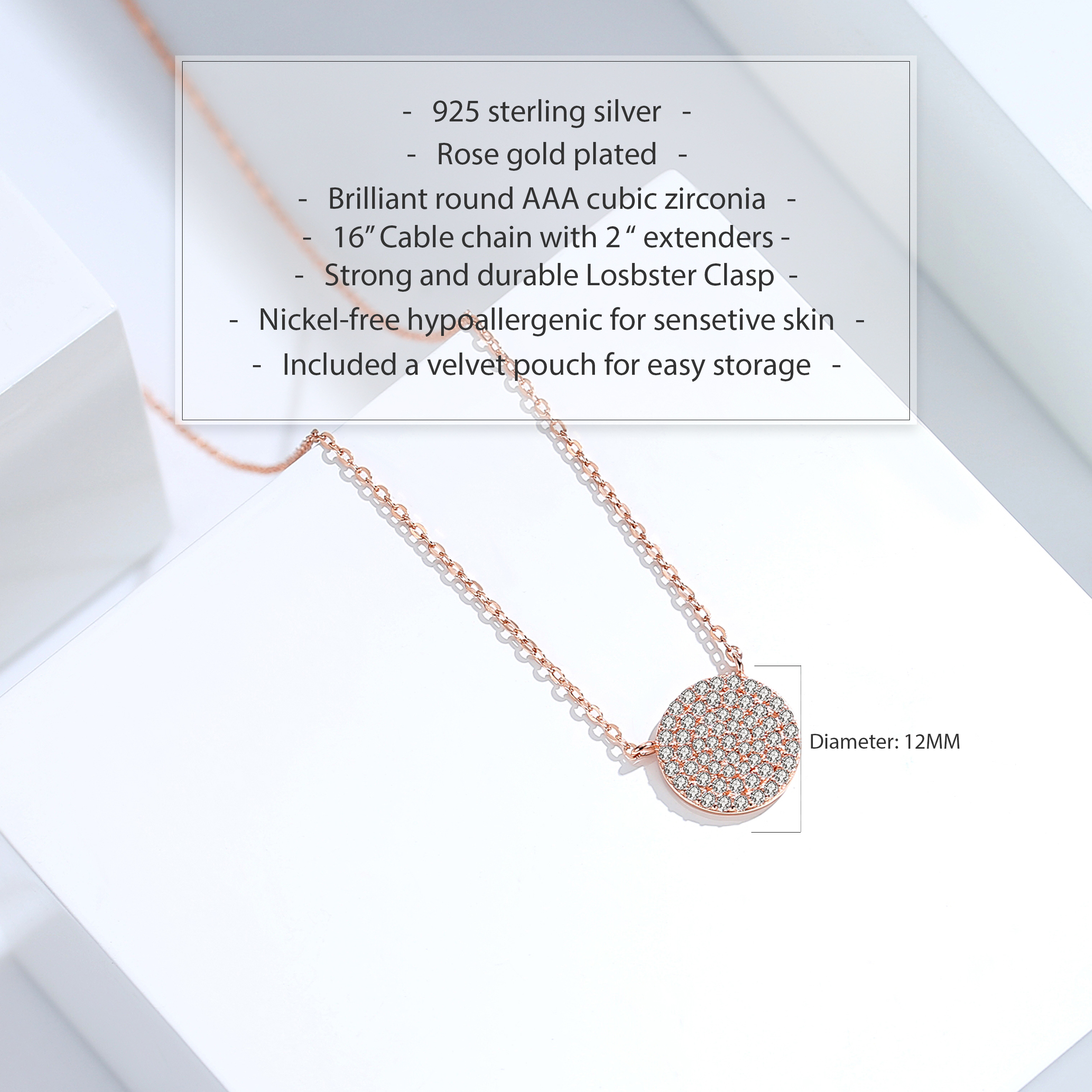 miniature 17 - 14K Gold Plated Silver Cubic Zirconia Disc Necklace Circle Pendant 12mm Diameter