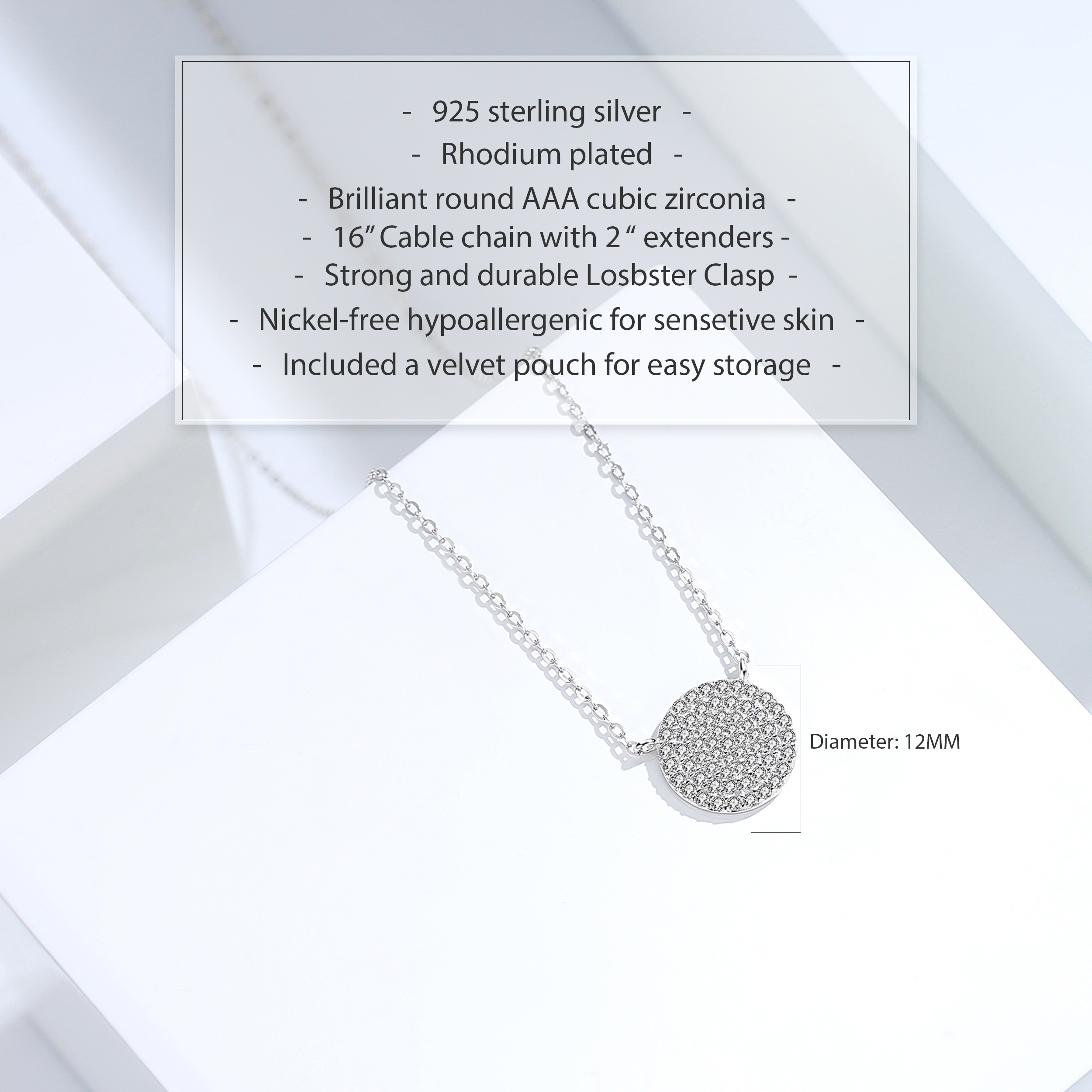 miniature 22 - 14K Gold Plated Silver Cubic Zirconia Disc Necklace Circle Pendant 12mm Diameter