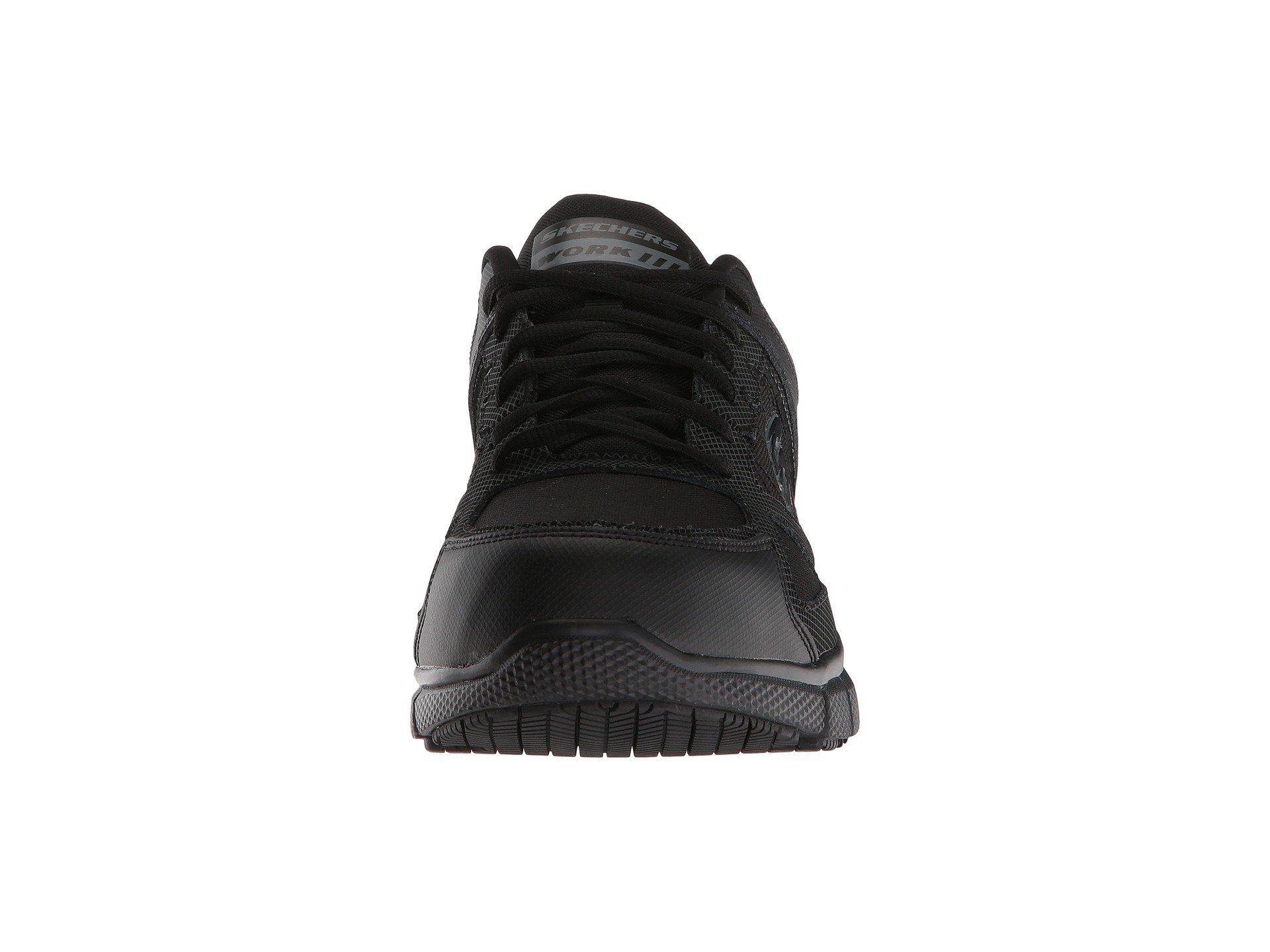 ce9d2f8809fb ... sale uk 60e0e bb3a7 Skechers Telfin Mens Black Leather Comp Toe Slip  Resistant Safety Work Shoes ...