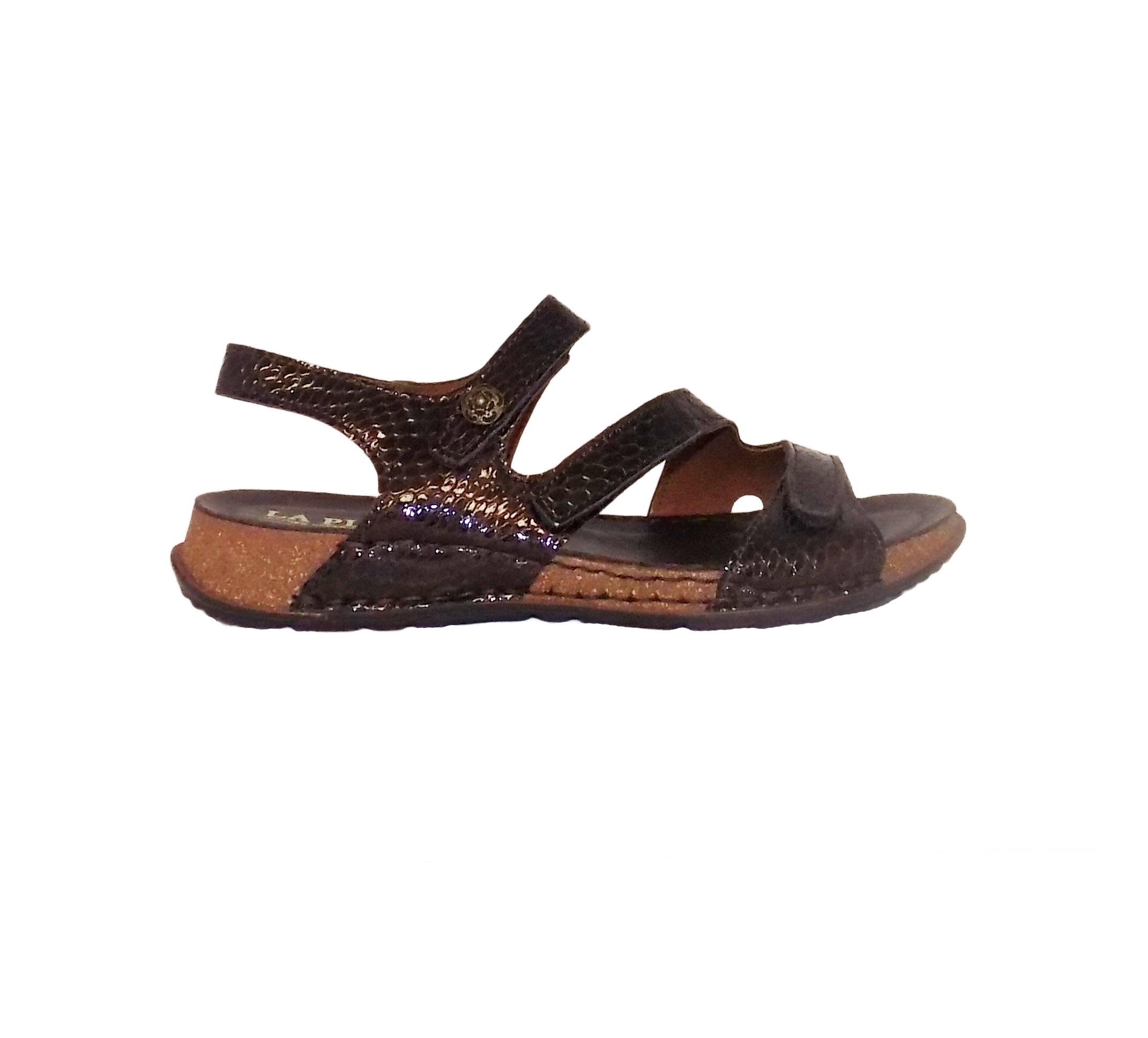 La Plume MAPLE Womens Brown Croc Leather Open Toe Sandals