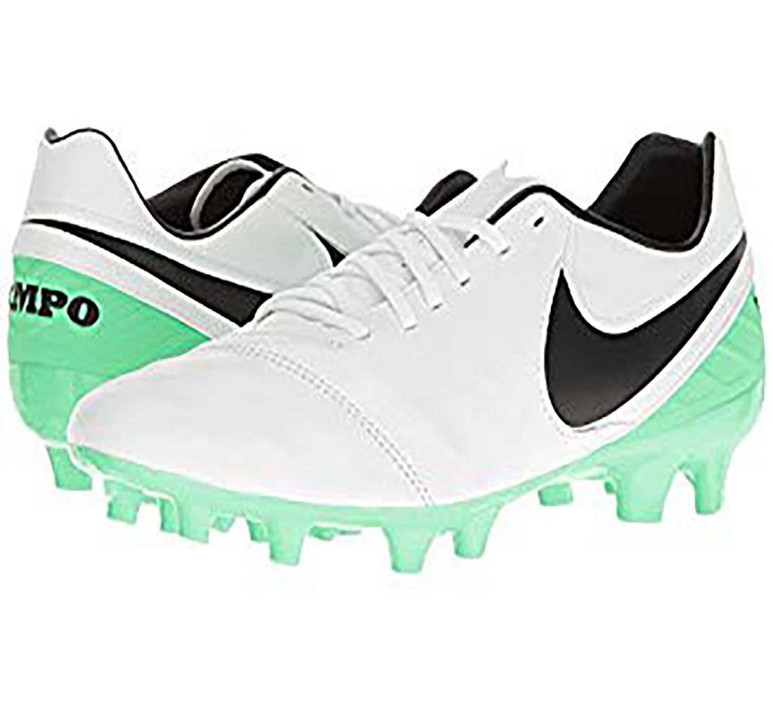 15dee41069c Nike Mens Tiempo Mystic V FG White Green Outdoor Soccer Cleats ...
