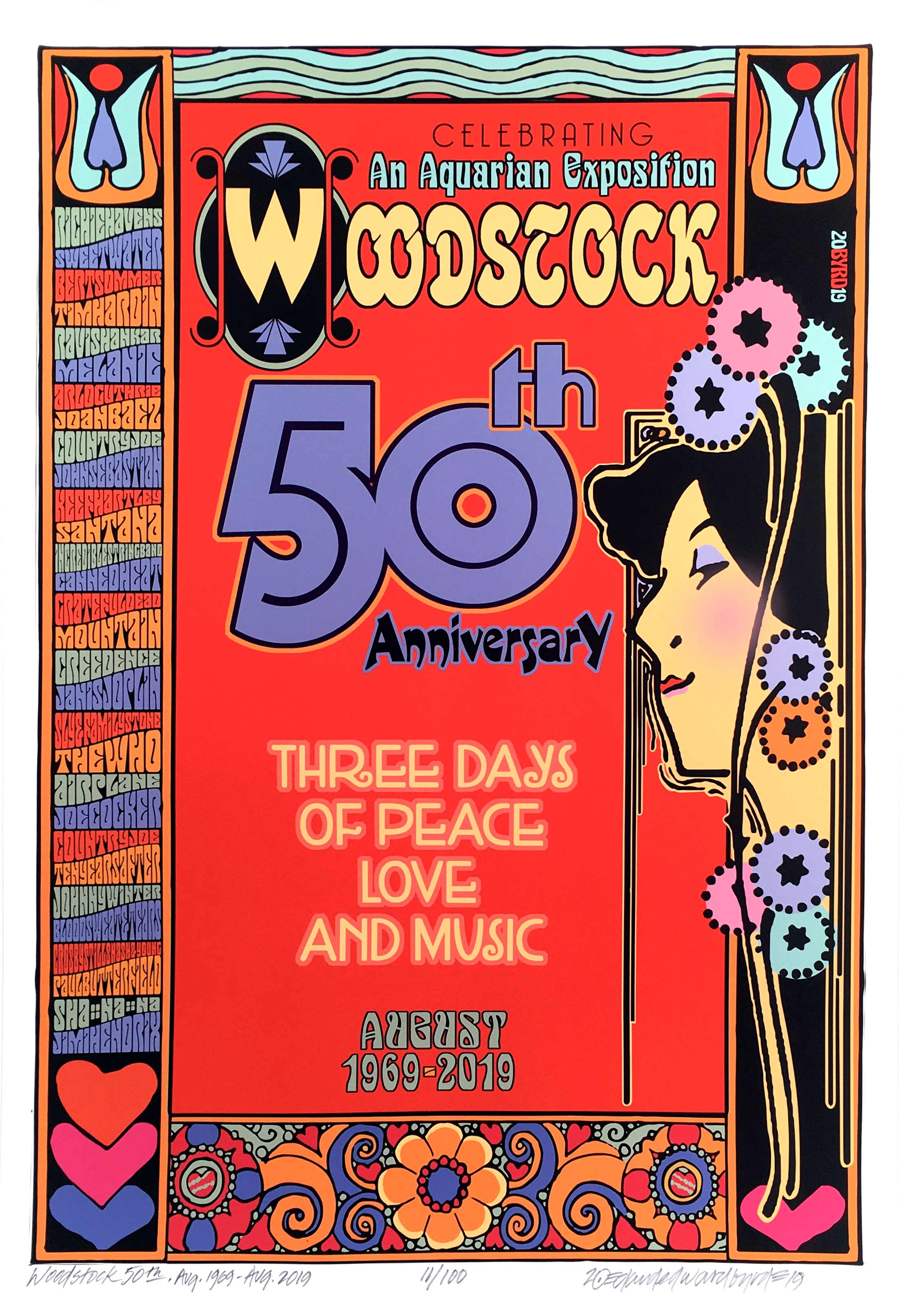 Woodstock 50th Anniversary Poster Art Nouveau Hand Signed