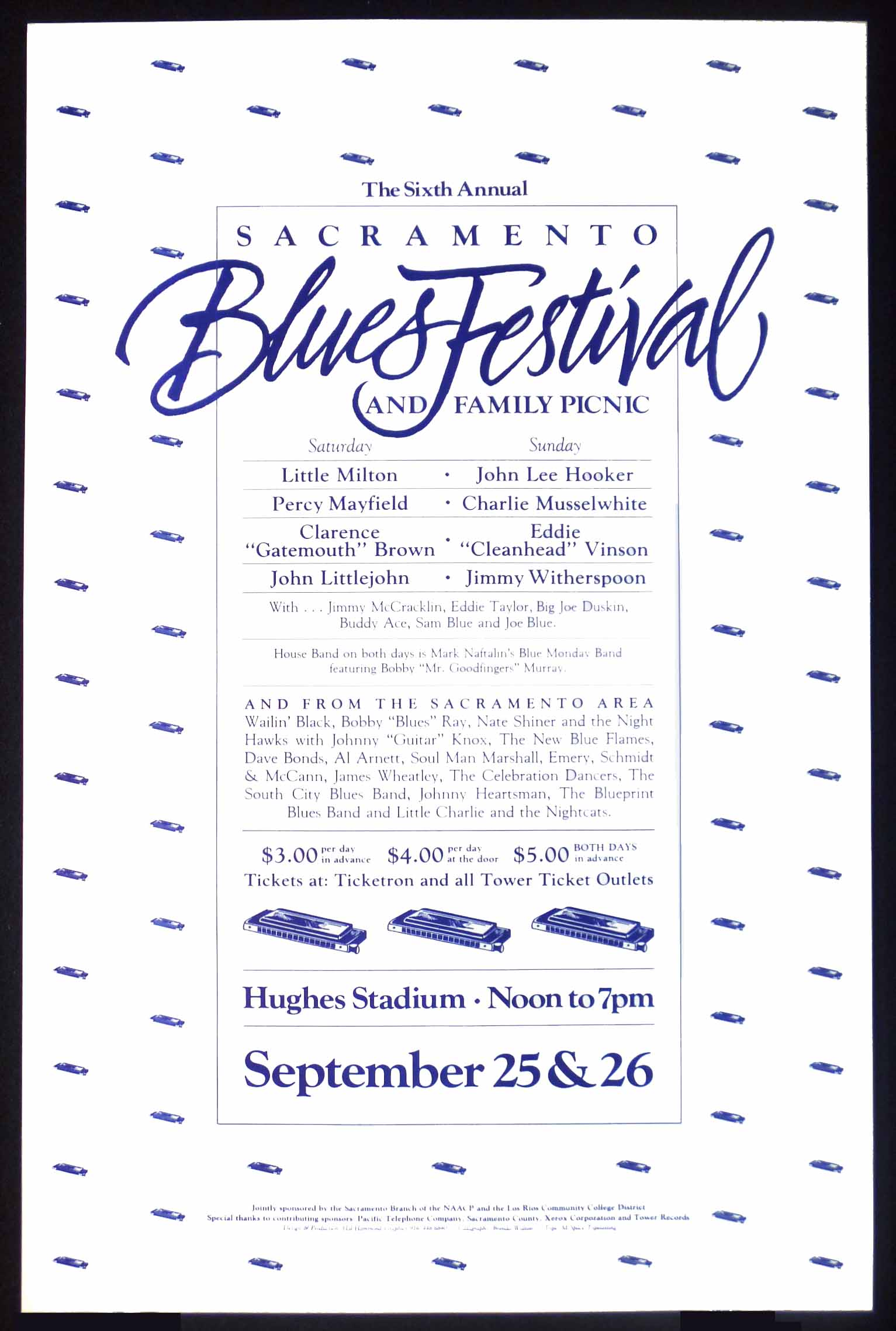 6th sacramento blues festival poster john lee hooker charlie 1982 poster for the sacramento 6th annual blues festival featuring john lee hooker little milton percy mayfield charlie musselwhite malvernweather Image collections
