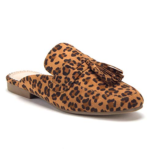Women-039-s-Luxe-Tassel-Slip-On-Designer-Loafers-Flats-Mules-Shoes-Leopard-Print