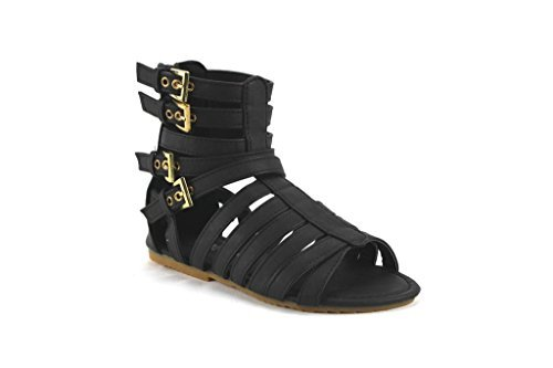New Little Girls Kids Sophie-816 Tall Zipped Gladiator Caged Open Toe Sandals