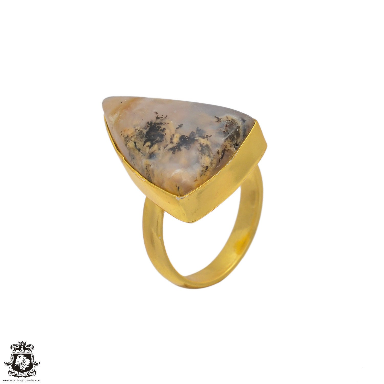 Size 8 Adjustable Montana Agate 24K Gold Plated Ring GPR84 Size 6.5