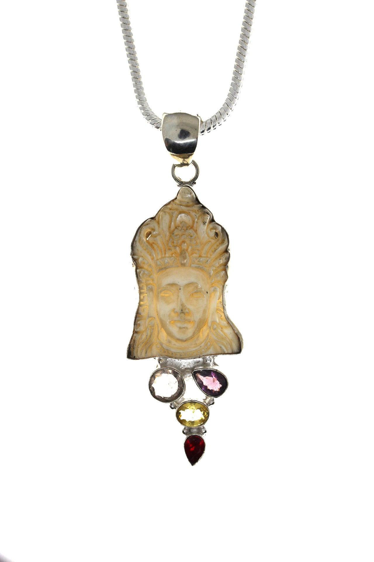 KRISHNA Amethyst PRASIOLITE Citrine Garnet TOTEM Goddess Face Bone Deer Antler Carving 925 Sterling Silver Pendant 4MM Italian Chain C119