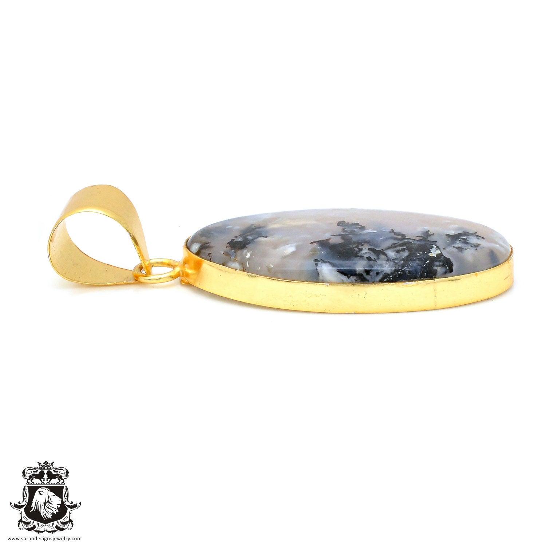 Scenic Agate 24K Gold Plated Pendant 3MM Italian Snake Chain GPH1766