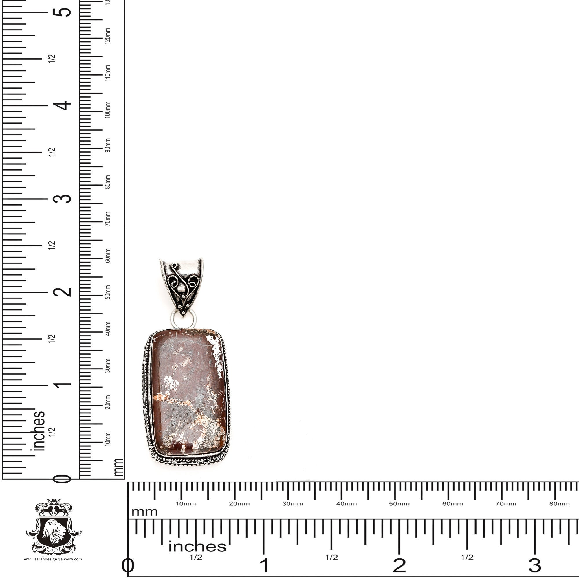 Oregon Mined Pendant 4MM Italian Snake Chain V1118 WILD HORSE Jasper