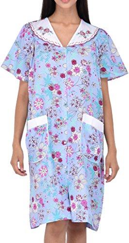 Women s Snap-up Short Sleeve Cotton Housecoat by Ezi 2x Blue  4f1f8f4ec