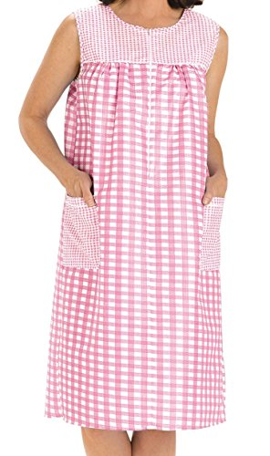 4adc485727 NEW EZI Women s Sleeveless Zipper Gingham Duster House Dress Coat