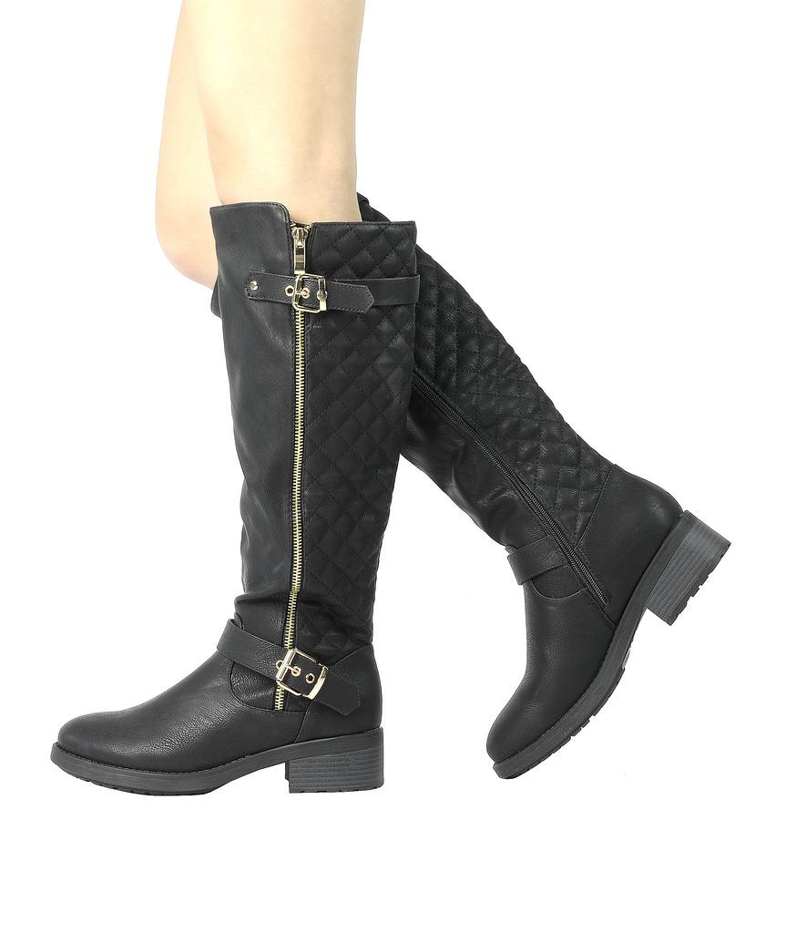 DREAM-PAIRS-Women-UTAH-Inner-Zipper-Knee-High-Riding-Boots-Wide-Calf-Available thumbnail 7