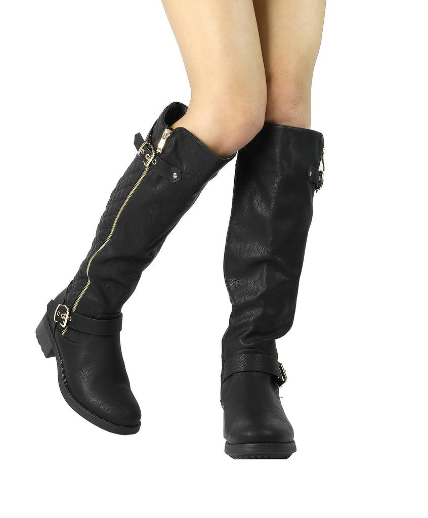 DREAM-PAIRS-Women-UTAH-Inner-Zipper-Knee-High-Riding-Boots-Wide-Calf-Available thumbnail 9