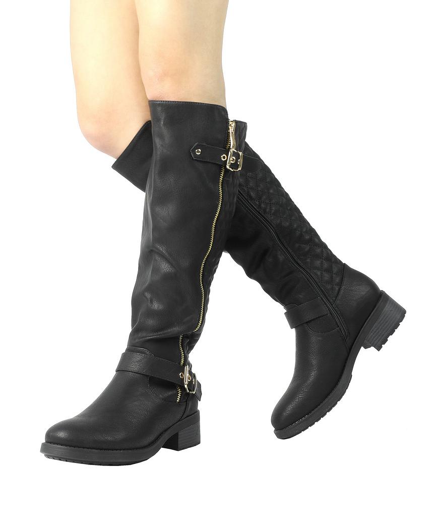 DREAM-PAIRS-Women-UTAH-Inner-Zipper-Knee-High-Riding-Boots-Wide-Calf-Available thumbnail 6